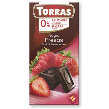 Torras No Added Sugar Dark Chocolate with Strawberries