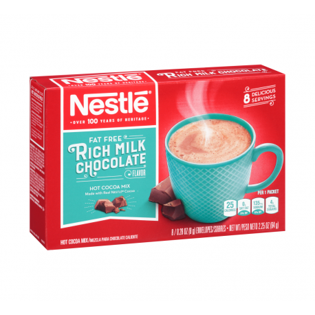 Nestle Fat Free Rich Milk Chocolate Hot Cocoa Mix 8 Packets