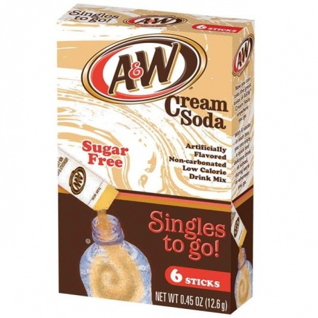 A&W Sugar Free Cream Soda Singles To Go 6 Stix
