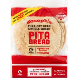 Joseph's Reduced Carb/Flax, Oat Bran & Whole Wheat Pita Bread