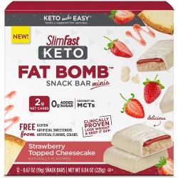 SlimFast Keto Fat Bomb Snack Bar Minis Strawberry Topped Cheesecake