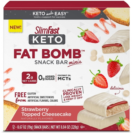 SlimFast Keto Fat Bomb Snack Bar Minis Strawberry Topped Cheesecake