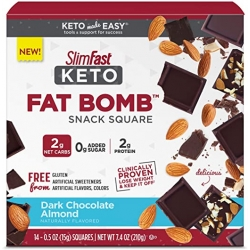 SlimFast Keto Fat Bomb Snack Squares Dark Chocolate Almond